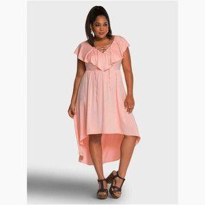 New TORRID Lace-Up Ruffle Hi-Lo Dress sz 12 NWT